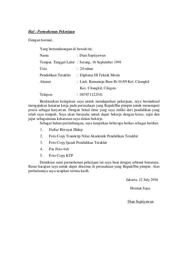 Surat Lamaran Kerja Cv To Dina 1