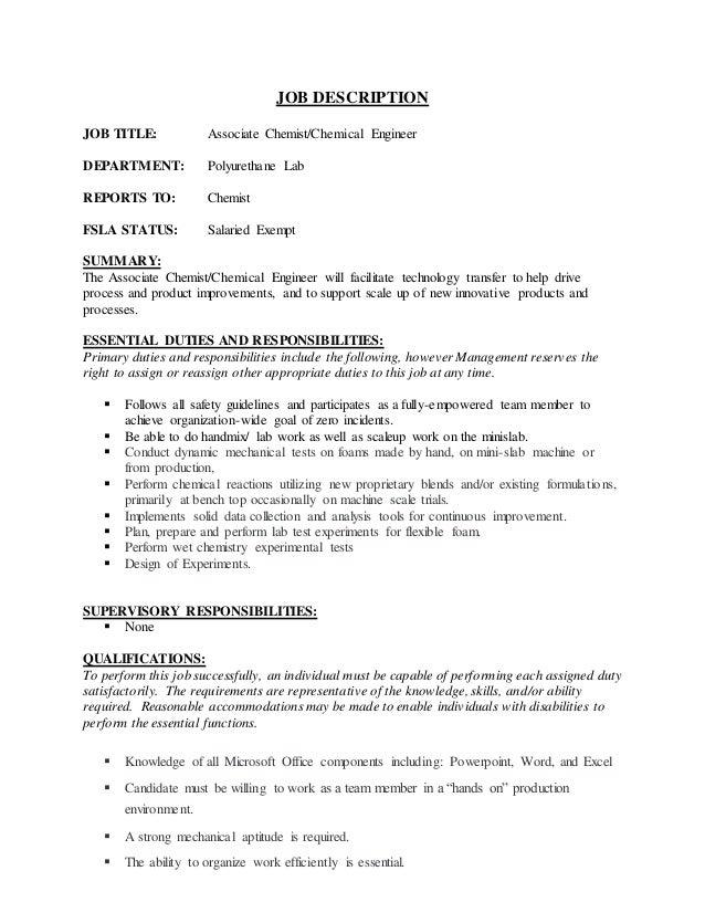 Associate chemist-chemical engineer