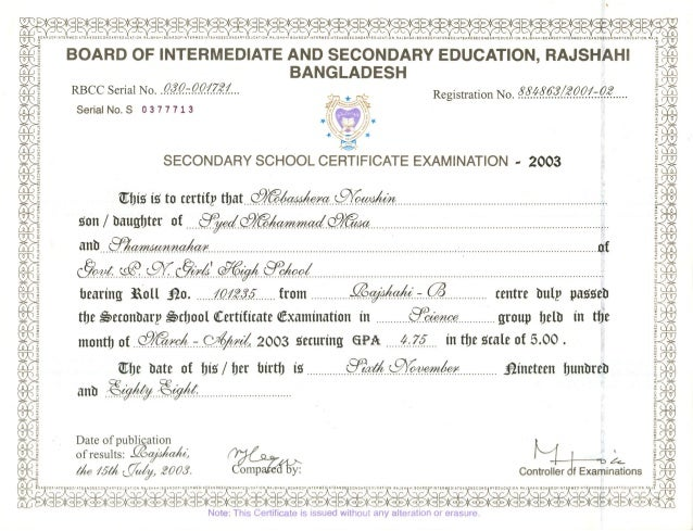Secondary School Certificate and Transcript