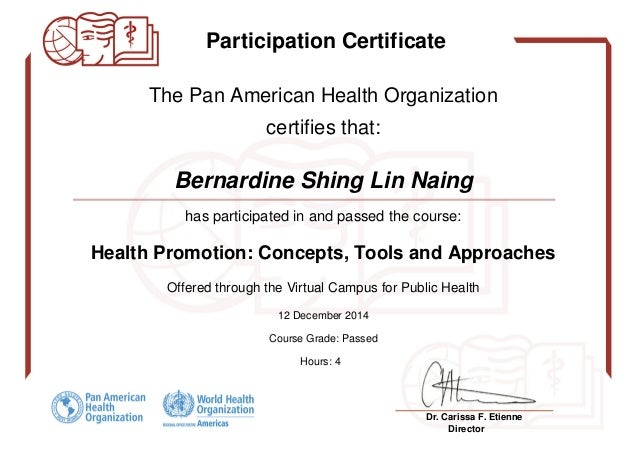 health promotion certificate