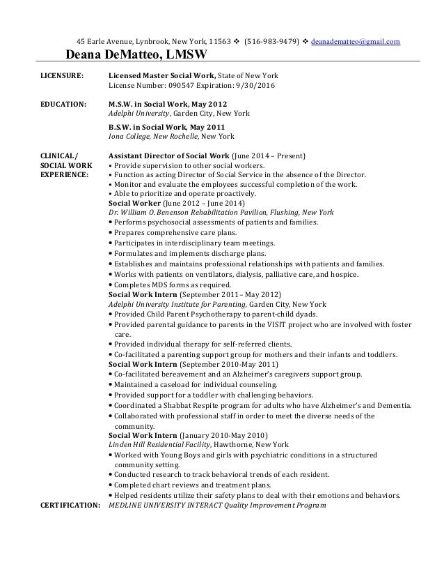 Resume. 45 Earle Avenue, Lynbrook, New York, 11563  (516-983- ...