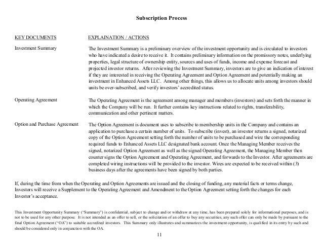 Enhanced Assets Llc Offering Summary 4216
