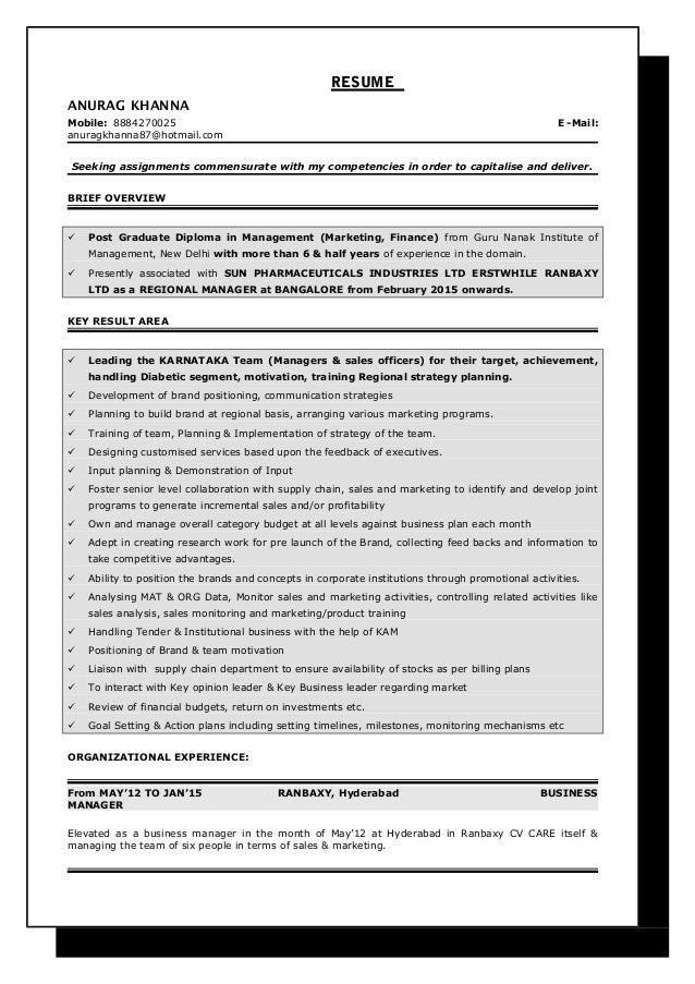 resume category