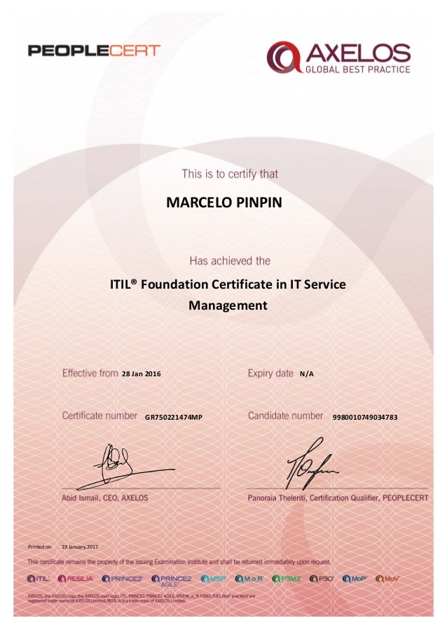 Itil V3 Foundation In It Service Management Certificate