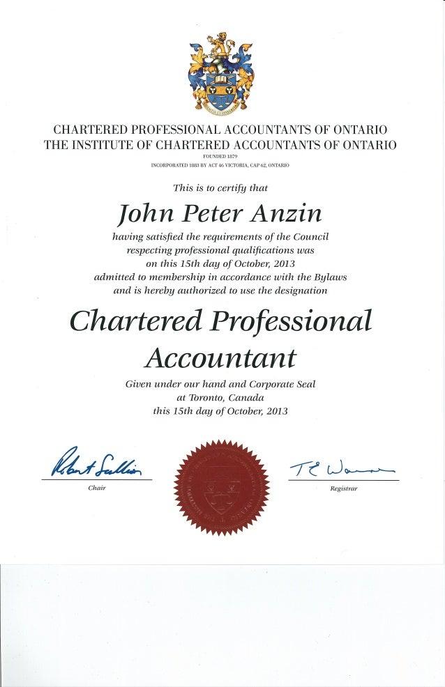 Cpa Certificate John Anzin