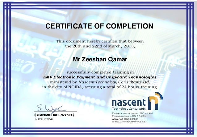 Certificate of Completion - EMV Training - Zeeshan