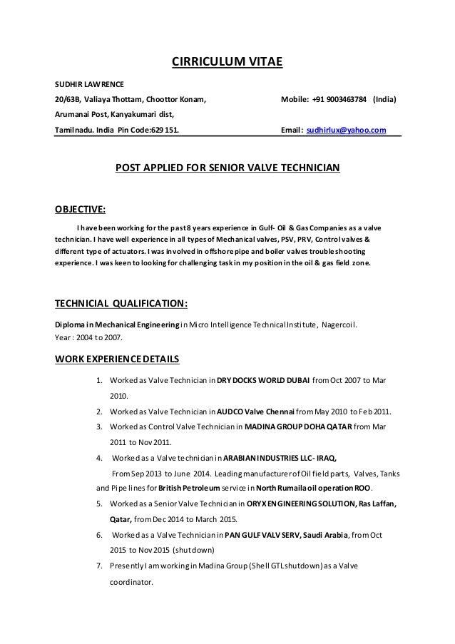 valve technician resume in word format  finder jobs