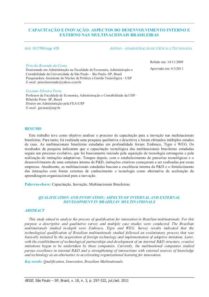 CAPACITAÇÃO E INOVAÇÃO: ASPECTOS DO DESENVOLVIMENTO INTERNO E             EXTERNO NAS MULTINACIONAIS BRASILEIRASDOI: 10.57...