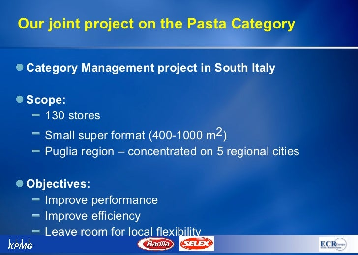 barilla case project Introduction to operations management 1 introductions 2 housekeeping a sloanspace b course introduction  first case write-up 20%  food distribution barilla pasta esupply webvan companies and industries we will cover.