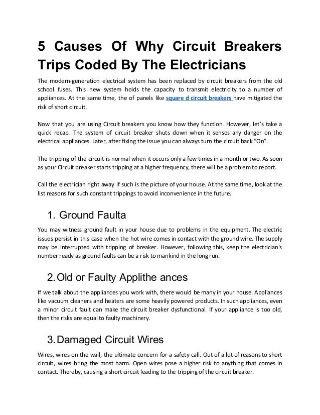 5 causes of why circuit breakers trips coded by the electricians
