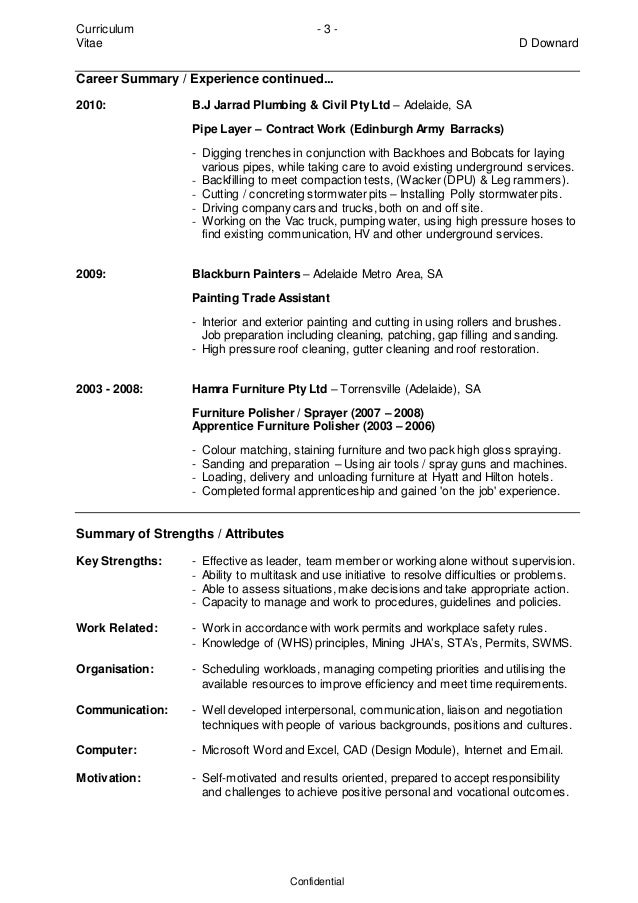 Pipe layer resume