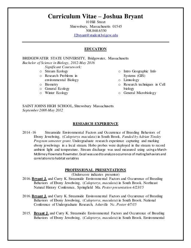 curriculum vitae joshua bryant 10 hill street shrewsbury massachusetts 01545 5088686530 j2bryant