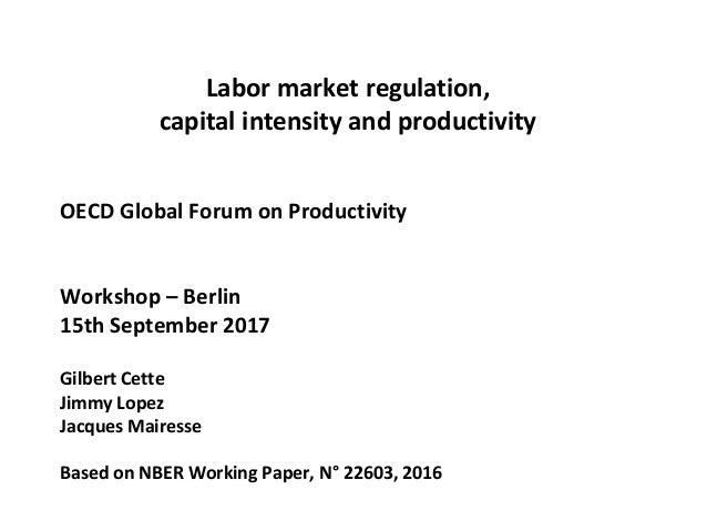 Labor market regulation, capital intensity and productivity OECD Global Forum on Productivity Workshop – Berlin 15th Septe...
