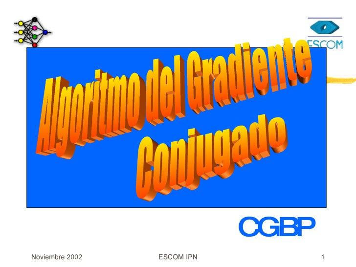 CGBP Algoritmo del Gradiente  Conjugado