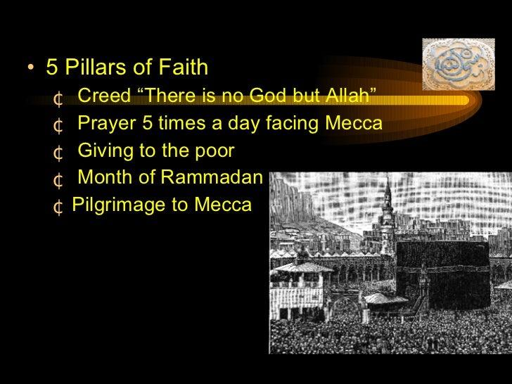 """<ul><li>5 Pillars of Faith </li></ul><ul><ul><li>Creed """"There is no God but Allah"""" </li></ul></ul><ul><ul><li>Prayer 5 tim..."""