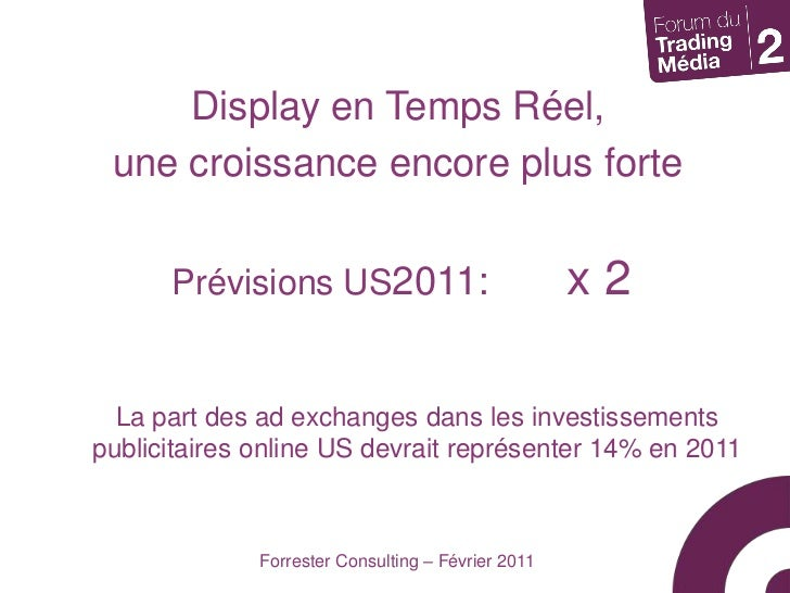 Display en Temps Réel, <br />une croissance encore plus forte<br />Prévisions US2011:x 2<br />La part des ad exchanges d...