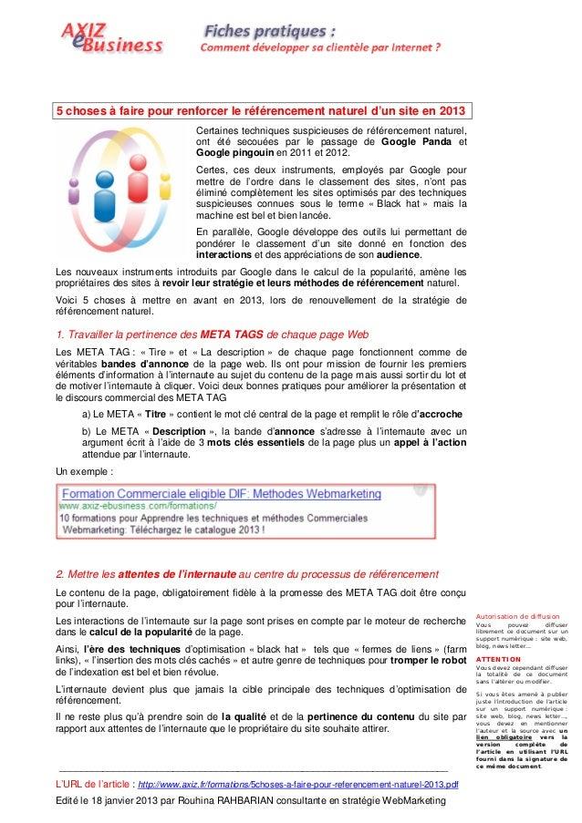5 choses à faire pour renforcer le référencement naturel d'un site en 2013                                   Certaines tec...