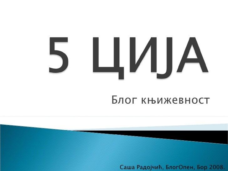 Блог књижевност Саша Радојчић, БлогОпен, Бор 2008.