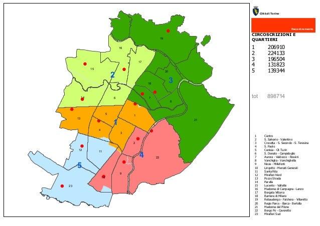 21 22 19 23 15 1 16 9 8 20 6 3 714 2 5 4 13 17 1112 10 18 CIRCOSCRIZIONI E QUARTIERI Decentramento Città di Torino 5 4 1 C...