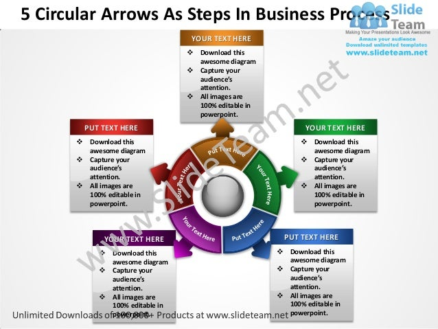 5 circular arrows as steps in business process powerpoint templates 0 5 circular arrows as steps in business process accmission Gallery