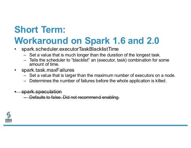 Short Term: Workaround on Spark 1.6 and 2.0 • spark.scheduler.executorTaskBlacklistTime – Set a value that is much longer ...