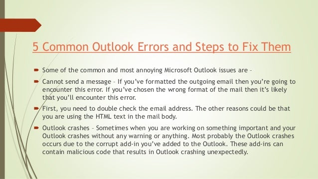 5 Common Outlook Issues and Steps to Fix Them Slide 3