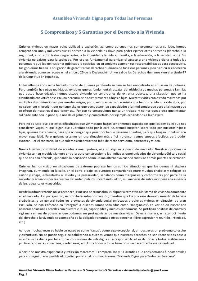 Asamblea Vivienda Digna Todas las Personas - 5 Compromisos 5 Garantías - viviendadignatodas@gmail.com Pag. 1 Asamblea Vivi...