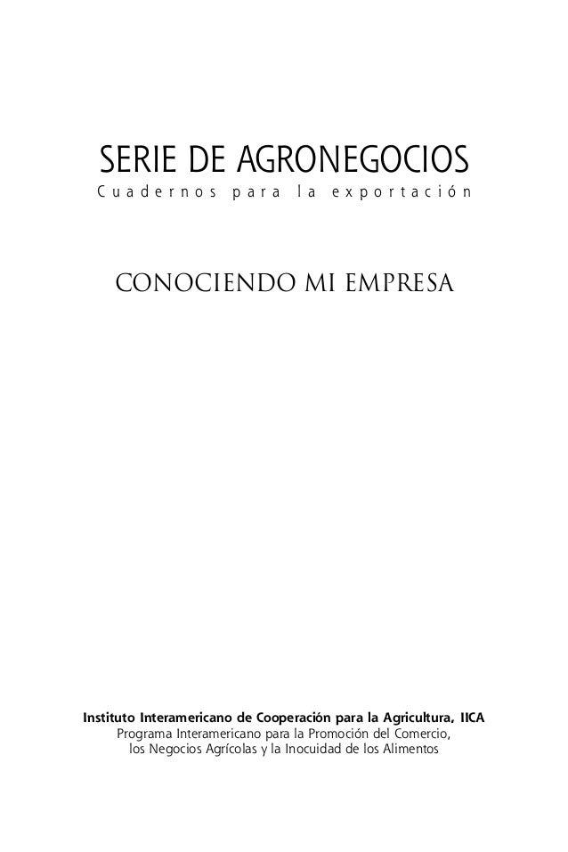 Instituto Interamericano de Cooperación para la Agricultura, IICA Programa Interamericano para la Promoción del Comercio, ...