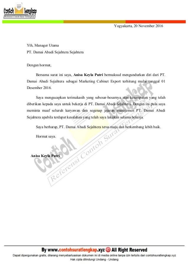 Contoh Surat Resign Kerja Detil Gambar Online