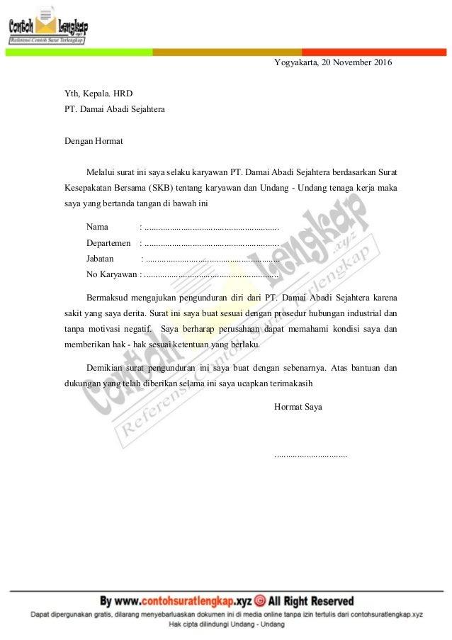 Contoh Surat Pengunduran Diri Dari Perusahaan Just4udakar Com