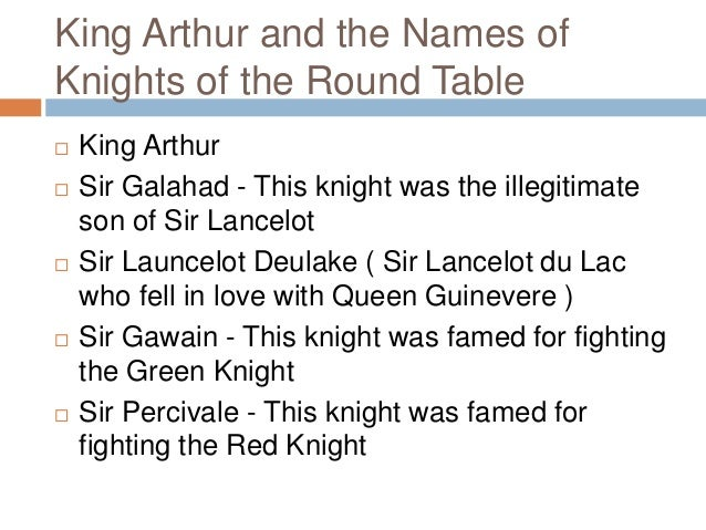 Contribution of knights in english literature for 12 knights of the round table characters