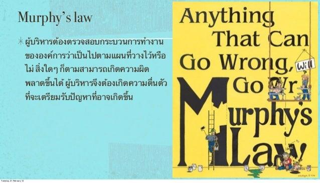 Murphy's law ผู้บริหารต้องตรวจสอบกระบวนการทํางาน ขององค์การว่าเป็นไปตามแผนที่วางไว้หรือ ไม่ สิ่งใดๆ ก็ตามสามารถเกิดความผิด...
