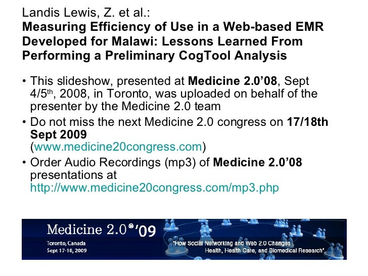 Landis Lewis, Z. et al.: Measuring Efficiency of Use in a Web-based EMR Developed for Malawi: Lessons Learned From Perform...