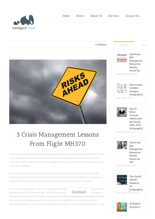  Previous 5 Crisis Management Lessons From Flight MH370 Incidents and events surrounding the disappearance of Malaysia Ai...