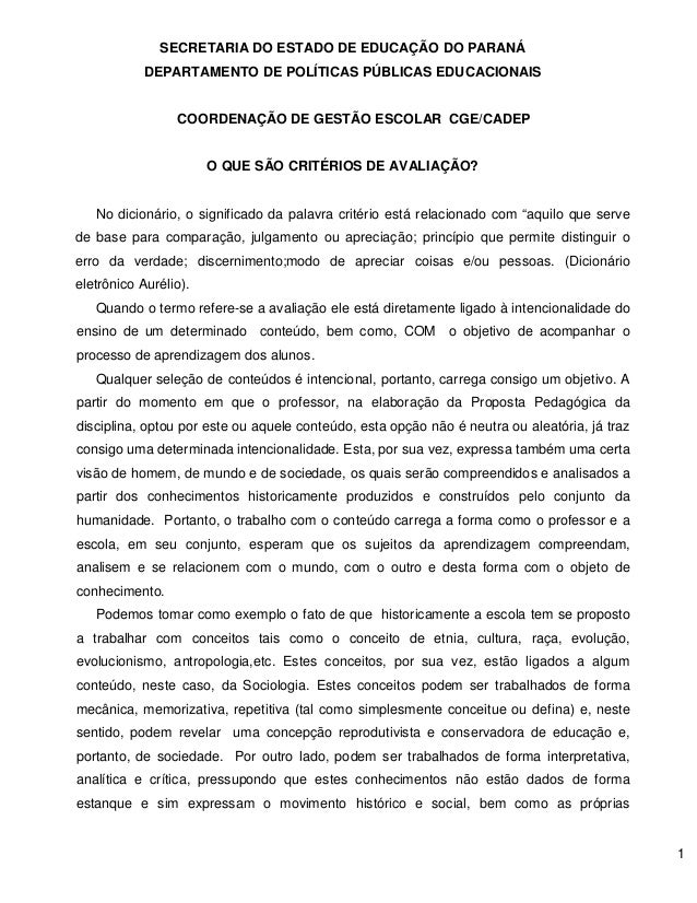 1  SECRETARIA DO ESTADO DE EDUCAÇÃO DO PARANÁ  DEPARTAMENTO DE POLÍTICAS PÚBLICAS EDUCACIONAIS  COORDENAÇÃO DE GESTÃO ESCO...
