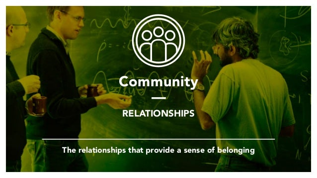 Community — RELATIONSHIPS The relationships that provide a sense of belonging