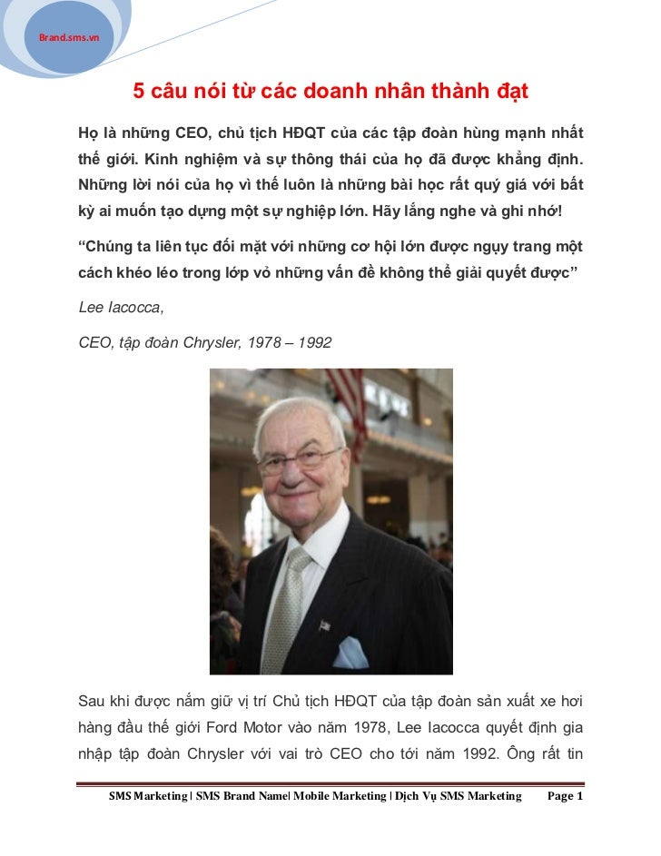 Brand.sms.vn                   5 câu nói từ các doanh nhân thành đạt       Họ là những CEO, chủ tịch HĐQT của các tập đoàn...