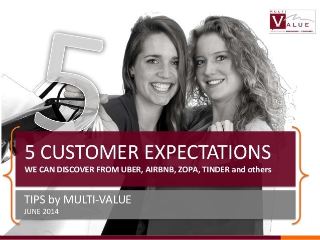 TIPS by MULTI-VALUE JUNE 2014 5 CUSTOMER EXPECTATIONS WE CAN DISCOVER FROM UBER, AIRBNB, ZOPA, TINDER and others