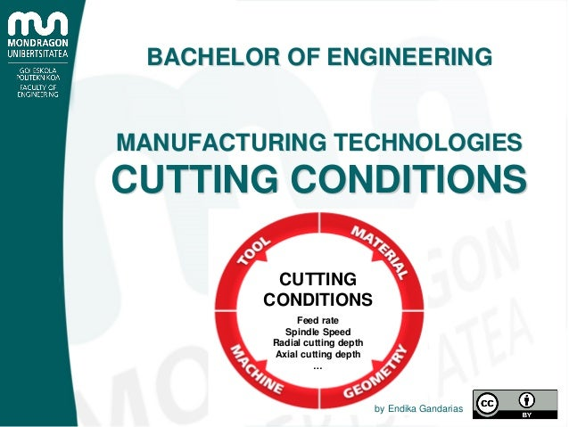 Feed rate Spindle Speed Radial cutting depth Axial cutting depth … CUTTING CONDITIONS BACHELOR OF ENGINEERING MANUFACTURIN...