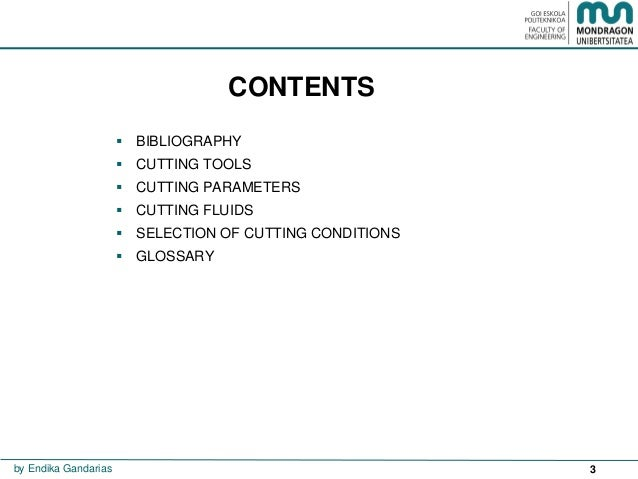 Cutting conditions Slide 3