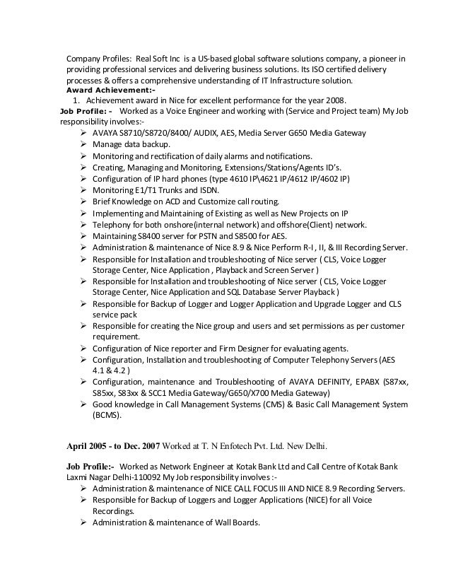 avaya voice engineer resume 28 images field installation