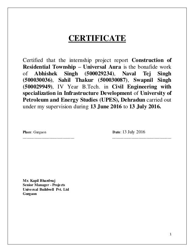 Certificate format for internship project report images certificate format for internship project report gallery certificate format for engineering project report choice image certificate yadclub Choice Image