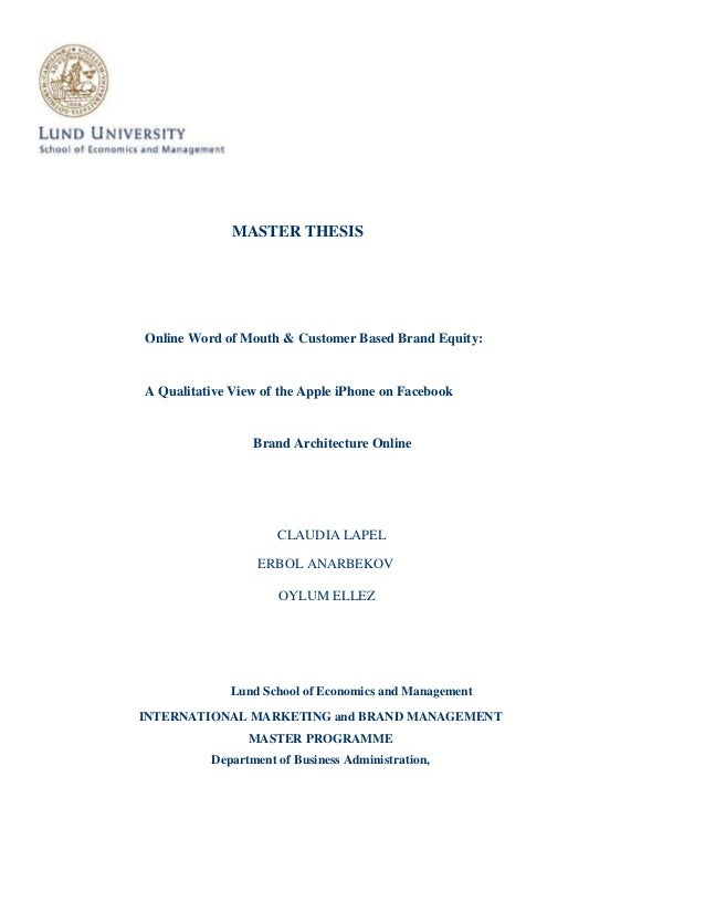 thesis on brand equity Bachelor thesis marketing programme brand equity for service brands online authors: pontus davidsson mathias johansson martin zetterberg supervisor: viktor magnusson.