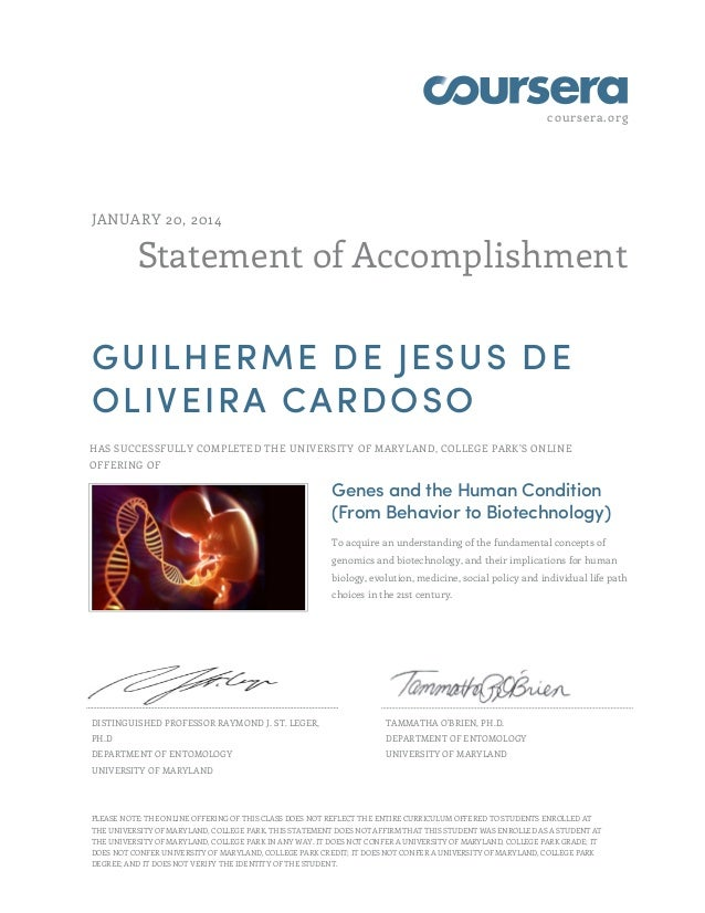 coursera.org Statement of Accomplishment JANUARY 20, 2014 GUILHERME DE JESUS DE OLIVEIRA CARDOSO HAS SUCCESSFULLY COMPLETE...