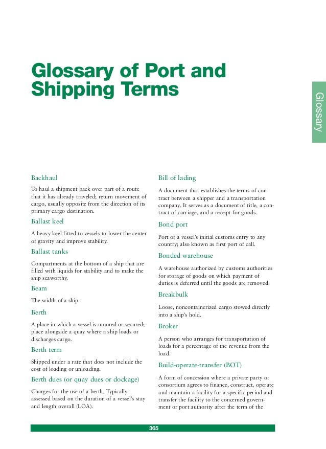 Glossary Of Port And Shipping Terms