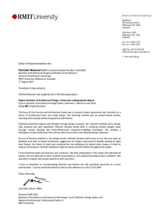 fahimeh mosavari recommendation letter