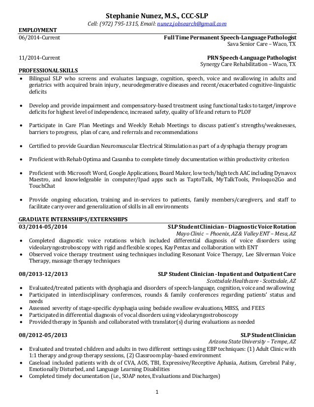 Speech Pathology and Audiology Resume Templates