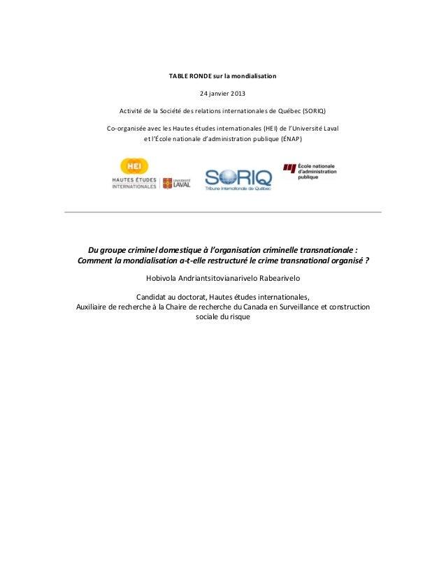 TABLE RONDE sur la mondialisation 24 janvier 2013 Activité de la Société des relations internationales de Québec (SORIQ) C...