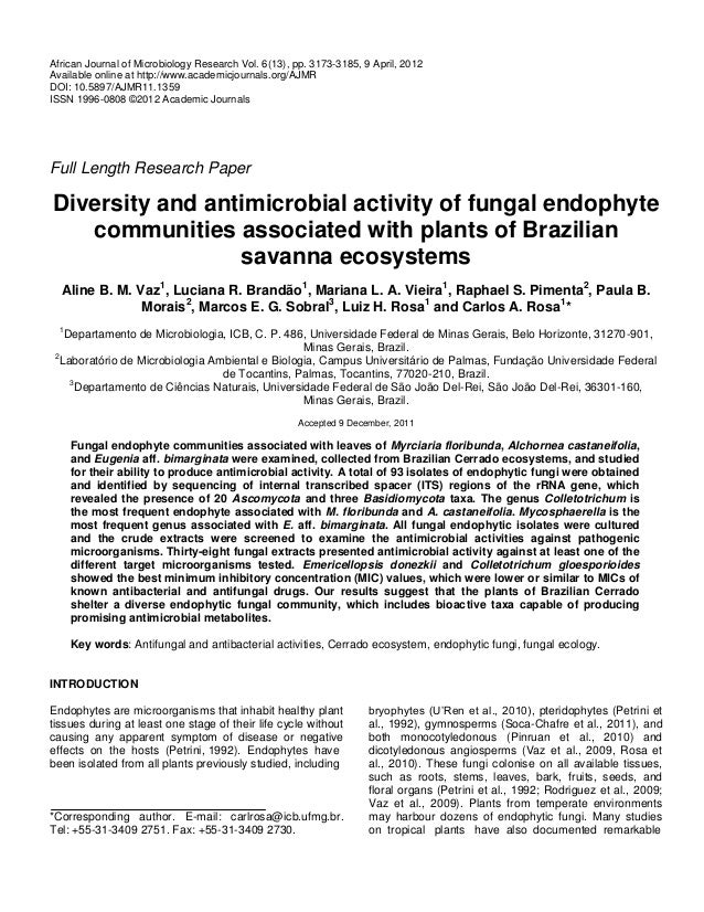 thesis on antifungal activity of medicinal plants Antifungal, and antiviral activities of african medicinal plants msc thesis, stellenbosch used tanzanian medicinal plants for antifungal activity pharm.