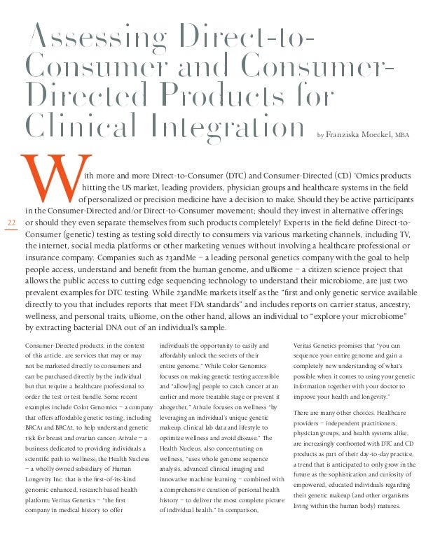 22 by Franziska Moeckel, MBA Consumer-Directed products, in the context of this article, are services that may or may not ...